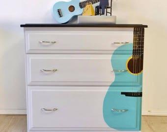 Musical Guitar 3 Drawer Maple Dresser
