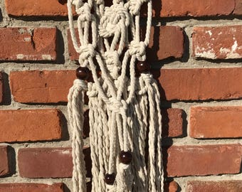 Modern bohemian macrame wall hanging 100% natural white cotton rope wooden beads hippie eclectic retro folk wall decor gifts under 30