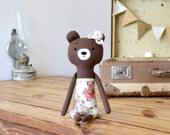 Cute animal toys Woodland stuffed toy Bear stuffed animal Brown bear toy Baby girl gift bear Woodland decor bear Stuffed doll Modern eco toy