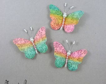 magnets papillons soie multicolore  6 cm corps perles, paillettes + 3 aimants, décor romantique mural,lampe,abat-jour,rideau,made in France