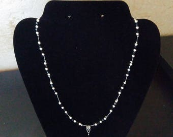 Black and silver necklace with Black Ball pendant
