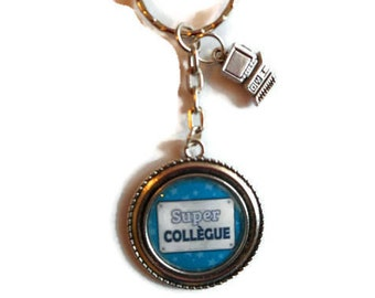 """Bag charm, door keys/colleague / """"SUPER colleague"""" / gift/birthday/thank you/party"""