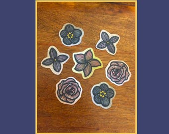 Flower Paper Stickers—Forget-me-not, Rose, Lilac, Plumeria