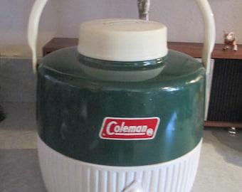 Vintage Coleman Cooler, Retro Picnic Jug, Green Cooler, Vintage Camping Jug, Vintage Camper Decor, 70's Camping Gear. 1970's- Coleman