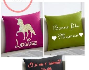 Custom pillow (message, color...) cotton 40 x 40 cm