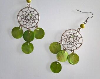 Green meadow dream catcher earrings