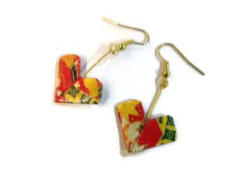 Origami heart earrings