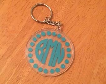 Circle monogram keychain