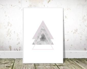 Purple Black White, Geometric triangles, Printable art, Flower Art, Symmetrical Triangles, Scandi Style, Pink Minimalist Poster,Modern Decor