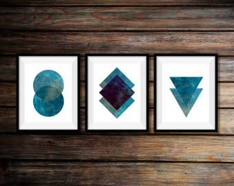 Set of 3 Prints, Marble Wall Art,Printable Art,Blue Marble Print Set,Set of Marble Prints,Geometric Print,Abstract Art,Scandinavian Wall Art