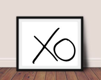 XO print, XO wall art, Printable art, Typography poster, Scandinavian print, XO decor, X O wall art, Love print,Minimalist print,hugs kisses