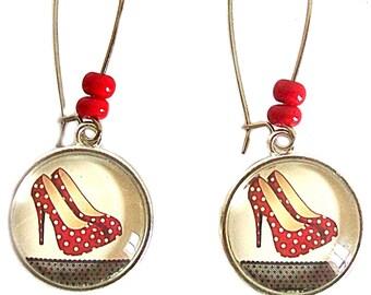 Drop earrings cabochon * pumps * red polka dot fashion silver jewel.