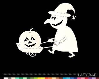 1 cut scrapbooking scrap halloween witch pumpkin cutout paper decoration die cut embellishment