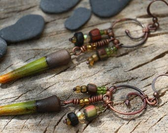 Ethnic tribal rustic earrings, ceramic raku bead, hammered copper, Thai, Czech glass beads, spiral, green, orange, black