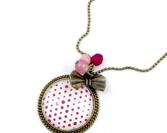 Bronze necklace * cabochon * pink dots * bow bronze * pearls * pink