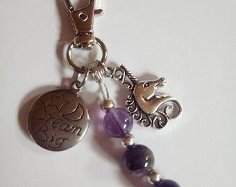 Unicorn Key Ring with Amethyst Gemstone Beads