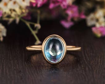 Oval Cut Blue Topaz Ring Yellow Gold Engagement Ring Solitaire Bridal Wedding Simple Birthstone Plain Antique Anniversary Women Promise Gift