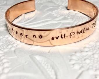 Bible bracelet, scripture jewelry, psalm 23, copper cuff, I will fear no evil