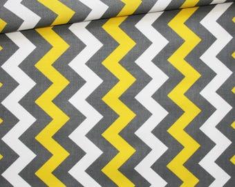 Tissu chevron gris, jaune, 100% coton imprimé 50 x 160 cm, motif zig zag, chevron