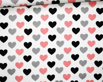 Fabric hearts, 100% cotton 50 x 160 cm, hearts, black, gray, pink on bottom