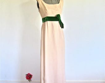 S 60s Evening Gown by Saks Fifth Avenue Nude Tan & Green Velvet Bow Empire Waist Dress Formal Prom Silk Chiffon Crepe Small