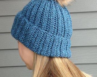 Blue Pompom Hat
