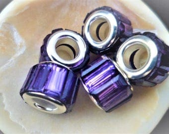 2 beads purple resin brass silver 11 x 8 mm Charms, beads spacer big hole Bracelets 3 mm thick snake Pr