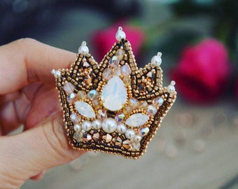 Crown Brooch SWAROVSKI Gold for lady Exclusive jewelry Accesssorie Broche Couronne bijou unique or