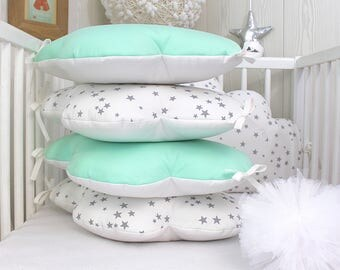 70cm wide, clouds, 5 pillows baby bumper, white, grey and Mint green or mint
