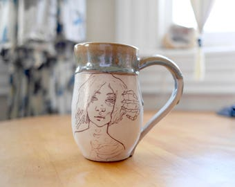 Hand-thrown Stoneware Ceramic Mug   Original Design   Bone Tired