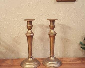 Vintage brass candlesticks.  Heavy aged brass. Set of candleholders  Boho candleholders