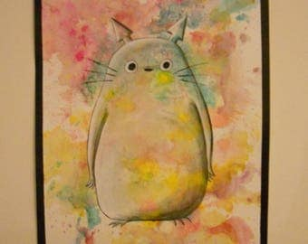 Poster format A3 painting on paper canson 'totoro'