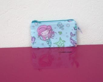 wallet in blue fabric with Mermaid and fish