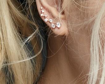 Dainty Ear crawler rose gold ear climbers bezel CZ ear cuff ear pins earrings Dainty ear climber ear cuff 925 sterling silver earrings
