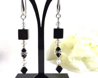 Cube graphic earrings Black/Silver/clear, Swarovski Crystal, Bohemian, Rhinestones, elegant stand