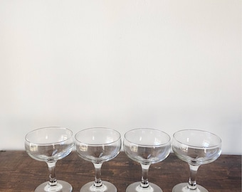 Vintage Champagne Coupes // Libbey Glassware // Set of Four