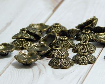 20pc - 11mm - Bead Caps - Bronze Bead Cap - Filigree Bead Caps - Metal Bead Caps - Bead Findings - Fits 10-12mm Beads - (5553)