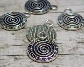 19mm - Spiral Charm - Circle of Life Charm - Metal Charms - Silver Charms - Bead Supplies - Metal Findings (5254)