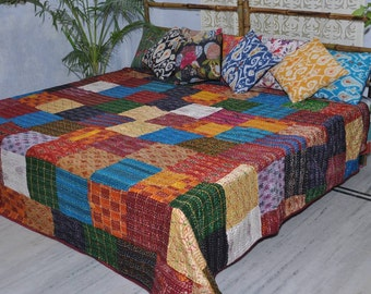 Kantha silk patch blanket