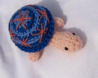 hand crocheted, handmade turtle