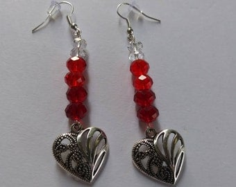 Red Heart Earrings/ Red Beaded Heart Earrings/ Heart Earrings/ Silver Hear Earrings/ Earrings of Love