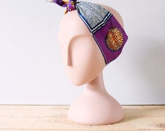 Headband wax fuschia et marine / Accessoire de coiffure femme wax / Bandeau femme ethnique / Boho chic / Ethnique