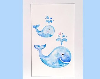 Baby and Me whale nursery art, A4, original watercolour, mummy and me, affordable nursery art, baby shower gift, baby animal art, boys room