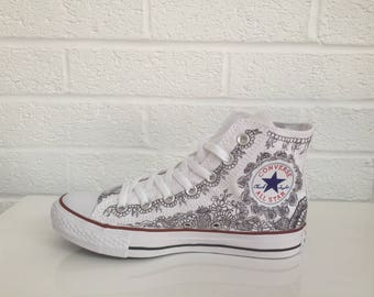 Custom Converse® High Top Henna Tattoo Graffiti Hand Painted Trainers