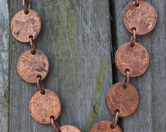 fun unique and different recycled upcycled and costume jewlery necklace made with eight Lincoln pennies.