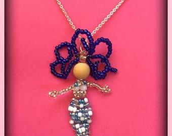 Turquoise beaded mermaid necklace