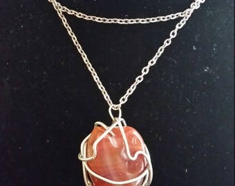 Wire wrapped CARNELIAN pendant (LARGE)