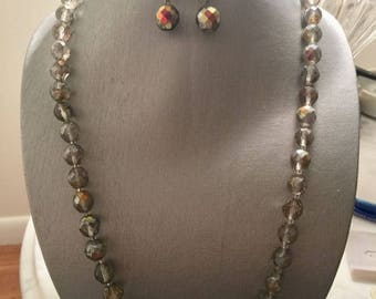 Vintage Gray Necklace/ Earrings set Swarovski  Crystal