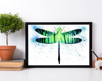 Magical Forest Dragon Fly Watercolor Original Art Print