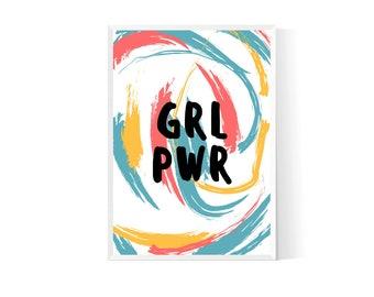 grl pwr| Feminist print| Feminism quote| Feminist quote| Feminist gift| grl pwr print| Girl power